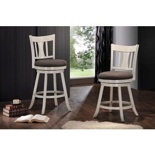 Cortesi Home Harper Beige Fabric Swivel Seat Counter Stool
