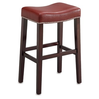 Lewis Red PU Counter Height Stool with Espresso Base (Set of 2)