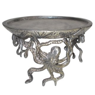 Silver Aluminum 9.5-inch x 5.5-inch Candle Holder