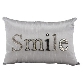 Mina Victory Luminescence Smile Silver/Grey Throw Pillow by Nourison (12 x 18-inch)