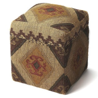 Butler Pecos Multicolored Wool/Jute and Wood Storage Cube
