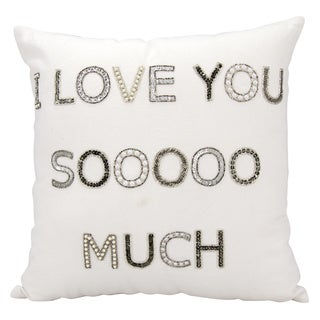 Mina Victory Luminescence I Love You Sooo Much White Throw Pillow by Nourison (18 x 18-inch)