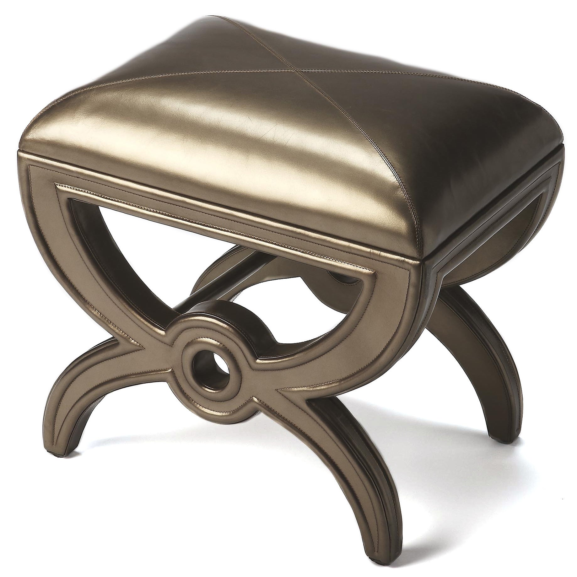 Butler Moderne Cosmopolitan Leather Vanity Stool (Bronze)...