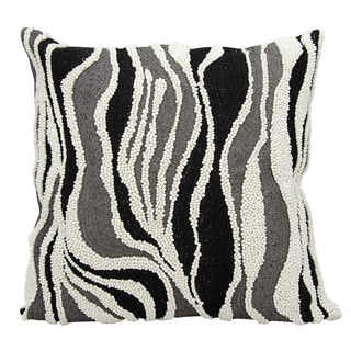 Mina Victory Luminescence Beaded Zebra Black/Silver Throw Pillow by Nourison (18 x 18-inch)