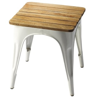 Butler Junction White Iron and Wood Stool