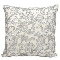 Mina Victory Luminescence Metallic Leaves Silver Throw Pillow by Nourison (20-Inch X 20-Inch)