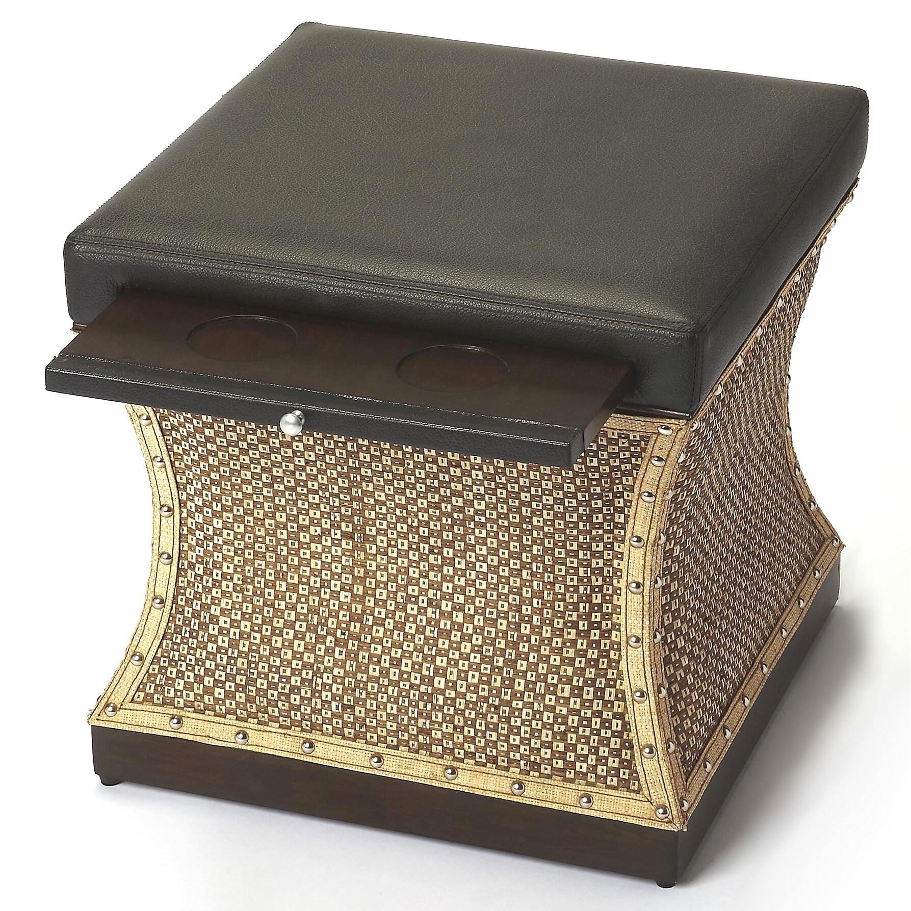 Brilliant Butler Mathilda Raffia And Leather Ottoman Ibusinesslaw Wood Chair Design Ideas Ibusinesslaworg