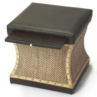Butler Mathilda Raffia and Leather Ottoman
