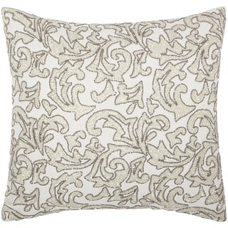 Mina Victory Luminescence Beaded Leaves Silver Throw Pillow by Nourison (20-Inch X 20-Inch)