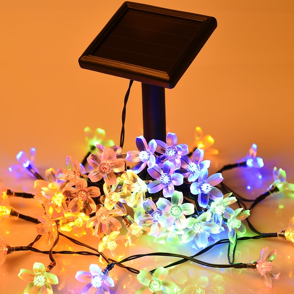 Plastic Indoor String Lights : Solar Decor Blue, Gold, Green Plastic Indoor Outdoor Waterproof LED Blossom Decorative String ...