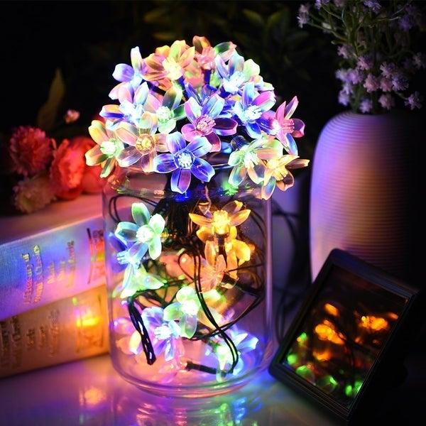 solar decor blue gold green plastic indoor outdoor waterproof led blossom decorative string lights - Decorative String Lights