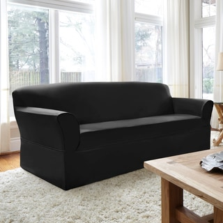 CoverWorks Dorchester Black 1-piece Relaxed-fit Sofa Slipcover