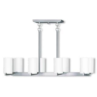 Livex Lighting Astoria Silver Steel, Glass 8-light Linear Chandelier