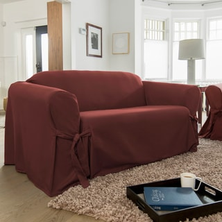 CoverWorks Muskoka Solid Red Polyestr 1-pIece Relaxed-fit Sofa Slipcover