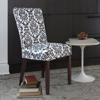 CoverWorks Chelsea Black Floral 1-piece Parson Chair with Buttons Slipcover (Pack of 4)