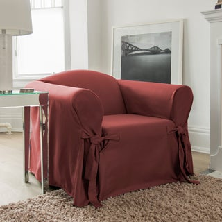 CoverWorks Muskoka Red Polyester Solid 1-piece Relaxed Fit Chair Slipcover