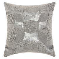 Mina Victory Luminescence Antique Beading Platinum Throw Pillow by Nourison (18-Inch X 18-Inch)