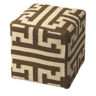 Butler Labyrinth Wool Fabric Wood Pouffe