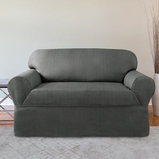 CoverWorks Bayside Brown Polyester 1-piece Relaxed Fit Loveseat Slipcover