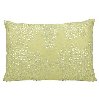 Mina Victory Luminescence Fully Beaded Yellow Throw Pillow by Nourison (10 x 14-inch)