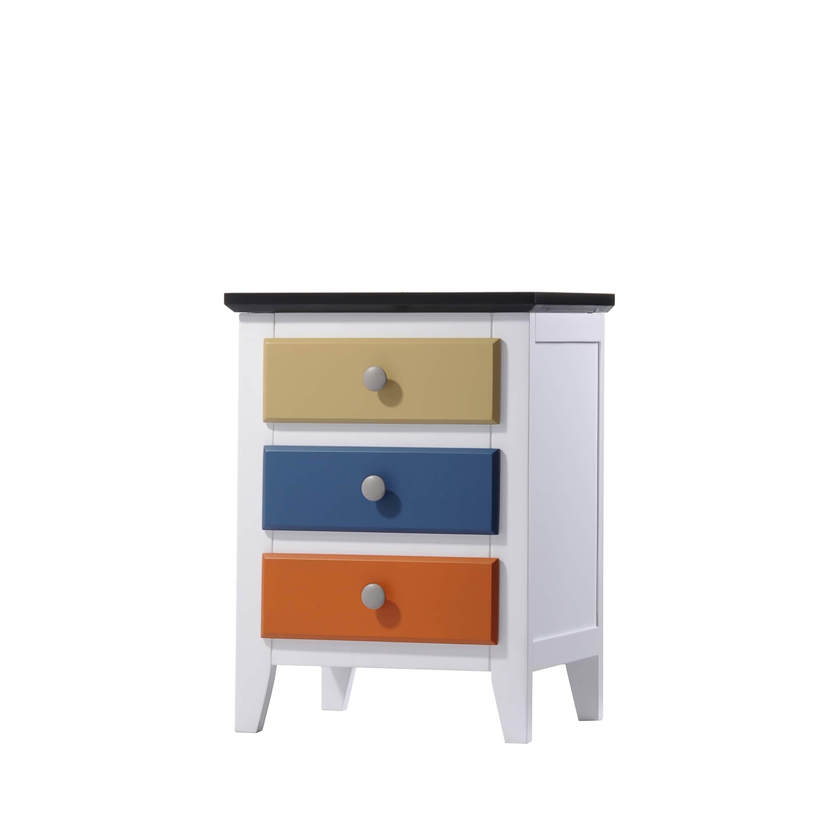 iTALKonline Brooklet White/Multicolor MDF/Wood Nightstand...