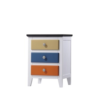 Brooklet White/Multicolor MDF/Wood Nightstand