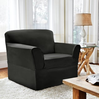 CoverWorks Dorchester Black Polyester 1-piece Relaxed-fit Chair Slipcover