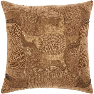 Mina Victory Luminescence Antique Beading Light Gold Throw Pillow by Nourison (18-Inch X 18-Inch)