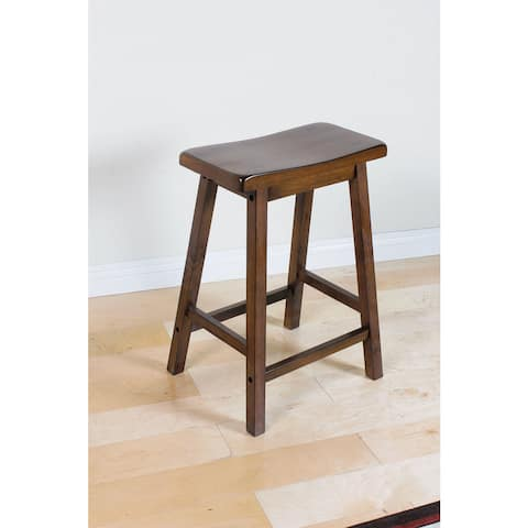 Set of 2 Stool, Walnut Finish, 24-Inch
