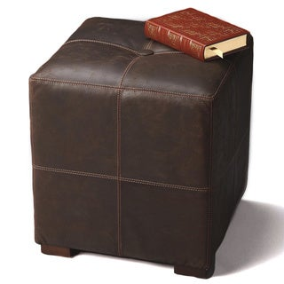 Butler Brown Leather, Wood Button-tufted Ottoman