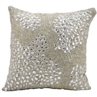 Mina Victory Luminescence Fully Beaded Silver Throw Pillow by Nourison (20 x 20-inch)