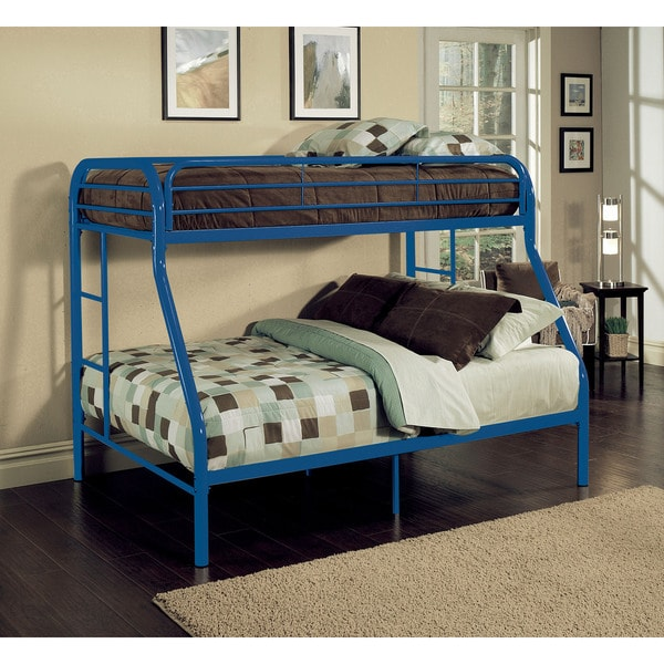 Shop Tritan Blue Metal Twin Xl Over Queen Bunk Bed Free Shipping