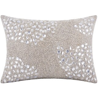 Mina Victory Luminescence Fully Beaded Silver Throw Pillow by Nourison (13 x 18-inch)
