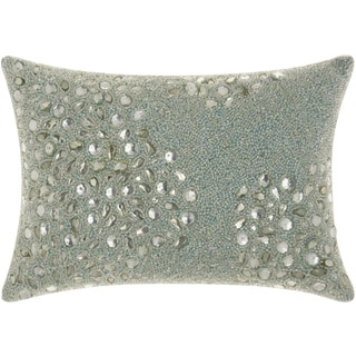 Mina Victory Luminescence Fully Beaded Seafoam Throw Pillow by Nourison (10 x 14-inch)