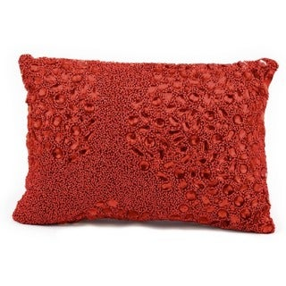 Mina Victory Luminescence Fully Beaded Red Throw Pillow by Nourison (10 x 14-inch)