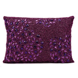 Mina Victory Luminescence Fully Beaded Purple Throw Pillow by Nourison (10 x 14-inch)