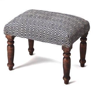 Butler Manto Blue/White Cotton-upholstered Wood Stool