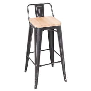 Shop Adeco Wood Seat Gunmetal Finish Bar Stools Set Of 2