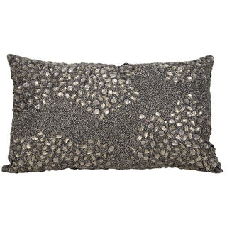 Mina Victory Luminescence Fully Beaded Pewter Throw Pillow by Nourison (13 x 18-inch)
