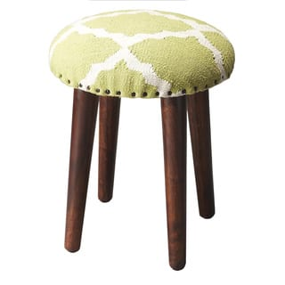 Modern Chinoiserie Linen Upholstered Stool Free Shipping
