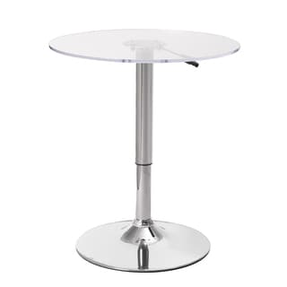 Adeco Clear Chromed Metal Hydraulic Adjustable-height Table