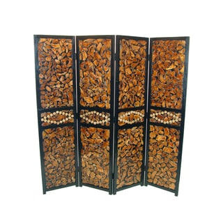 Natural Wood Attractive 4-panel Room Divider