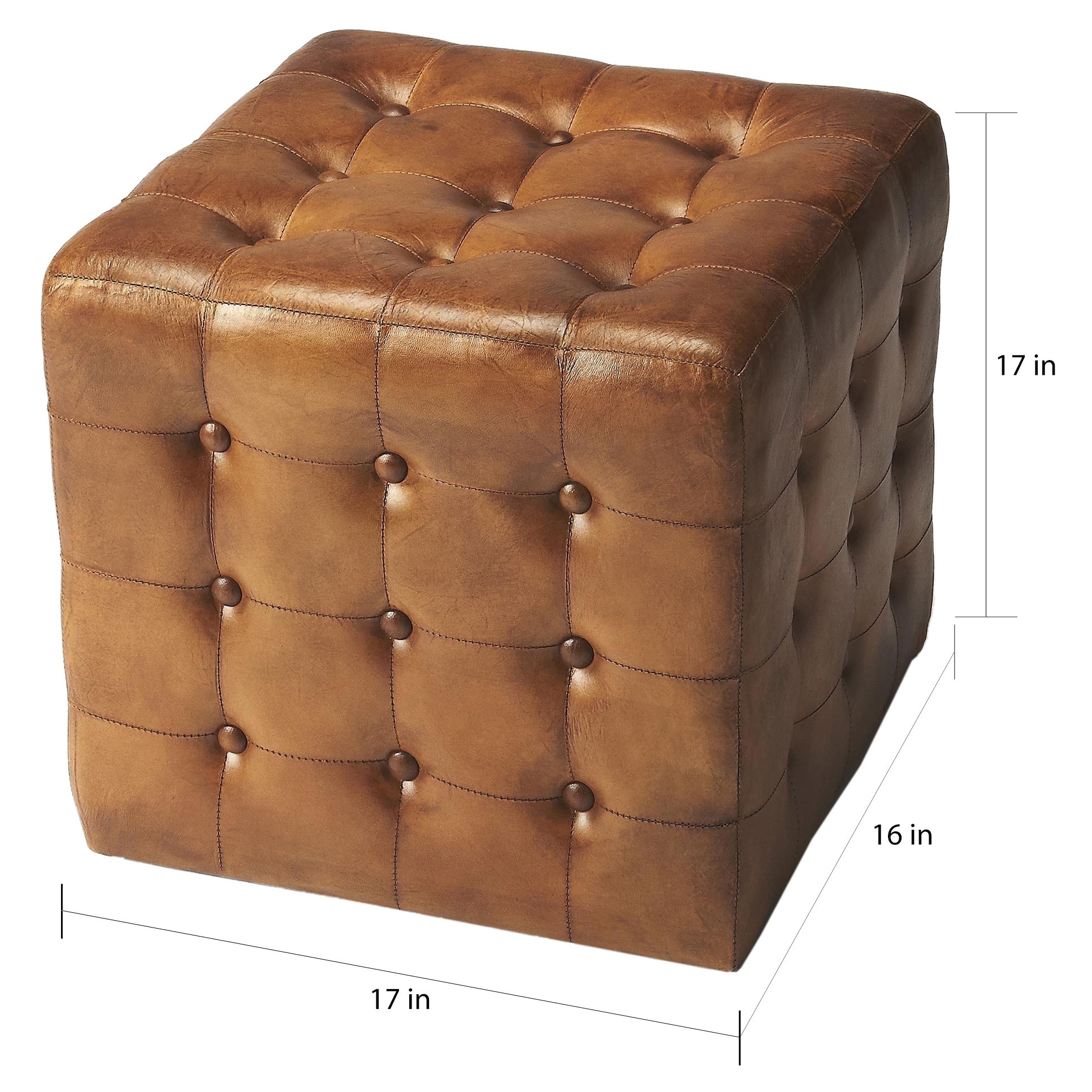 Shop Black Friday Deals On Butler Leon Brown Leather Button Tufted Ottoman Overstock 12037007