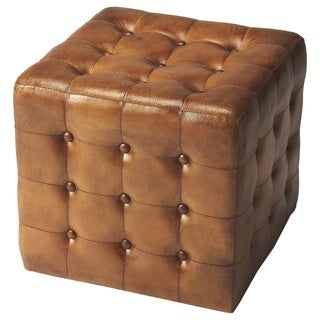 Butler Transitional Square Brown Leather Ottoman - Medium Brown