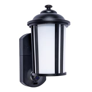 Traditional Black Glass and Metal Smart Security Light