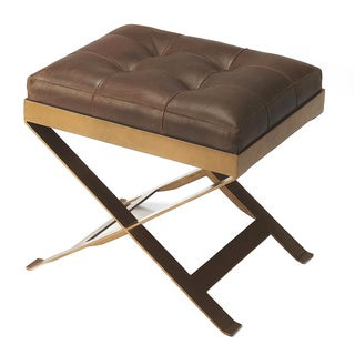 Butler Rodrigo Hand Tufted Soft Leather Stool - Medium Brown
