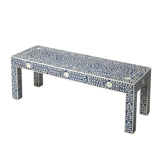 Butler Blue MDF/Wood Bone Inlay Bench