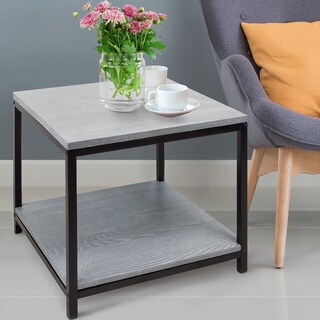 American Trails Contemporary End Table with Solid Red Oak Top and Shelf