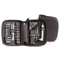 Silver Steel 42-piece Tool Set with Brown Leatherette Case