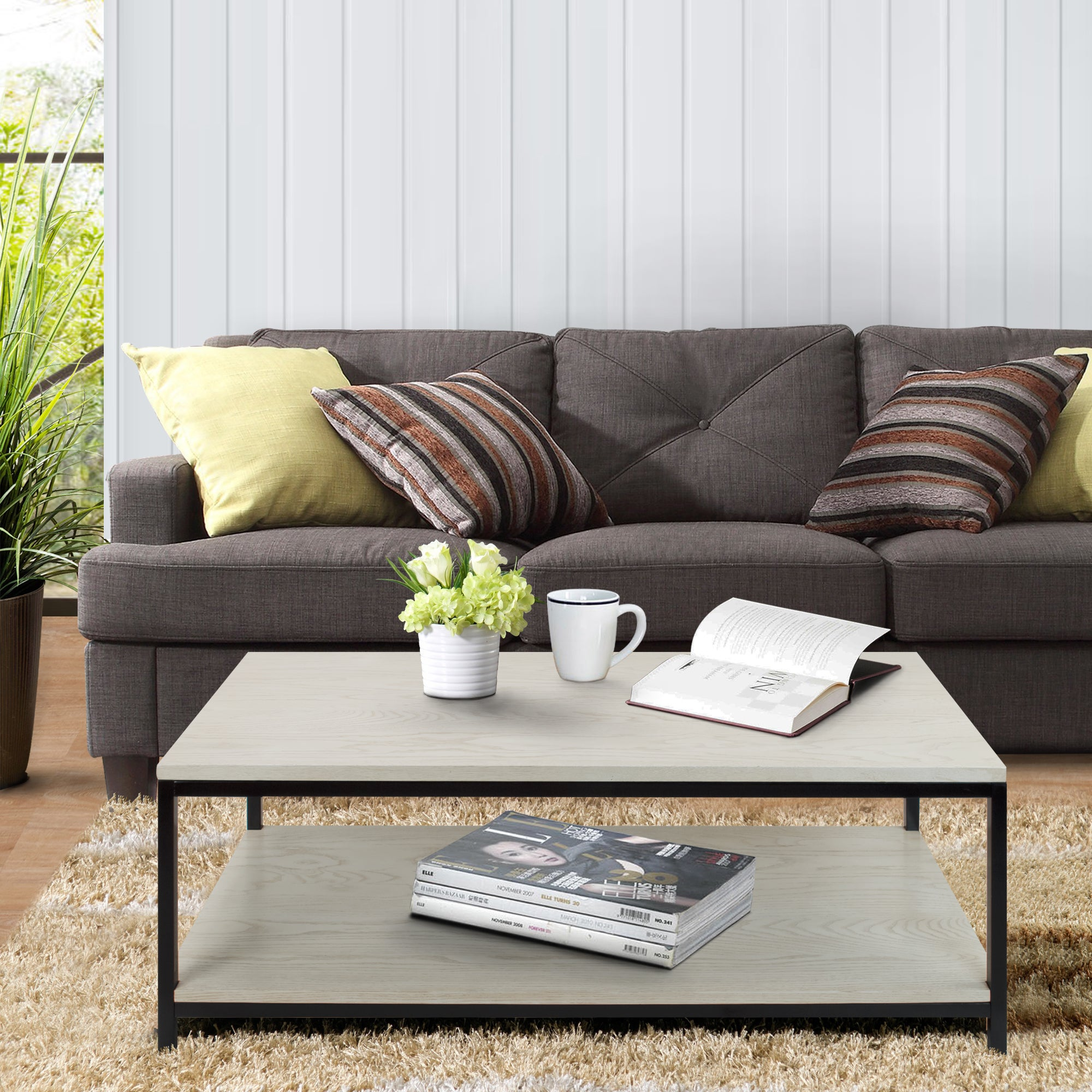 American Trails Contemporary Coffee Table with Solid Red ...